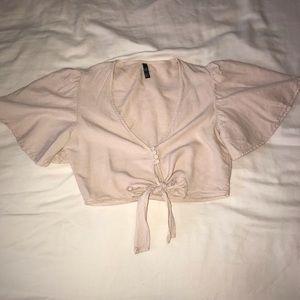 Blush Short Sleeved Tie Crop Top